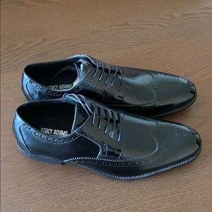 Men's Stacy Adams black leather dress shoes.